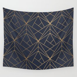 Navy blue Gold Geometric Pattern With White Shimmer Wall Tapestry