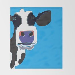 Cow in the Blue Sky Throw Blanket