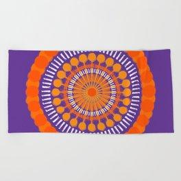 Rough Orange Mandala Beach Towel