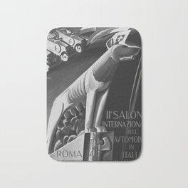 retro classic 1929 Salone Internazionale dell Automobile poster Bath Mat