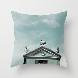 Mint Building on Aqua with Clouds and Sculptures Throw Pillow