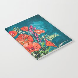 California Poppy and Wildflower Bouquet on Emerald with Tigers Still Life Painting Notebook