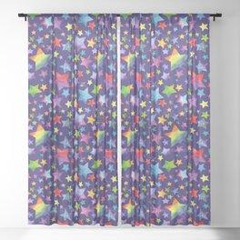 Rainbow Star Pattern on Blue Sheer Curtain