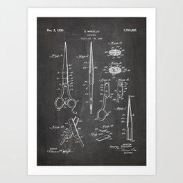Hair Scissors Patent - Salon Art - Black Chalkboard Art Print