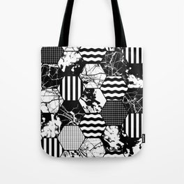 Hexual - Black and white, honeycomb, hexagon pattern, stripes, paint splats, grid and marble Tote Bag
