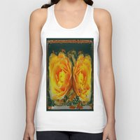 shabby chic Tank Tops featuring Antique Style Shabby Chic Yellow Roses Green Art by SharlesArt
