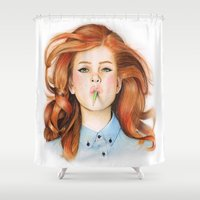 ginger Shower Curtains featuring Ginger by Sugar Doll