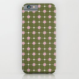 Green and Pink Daisies // Checkered Gingham Pattern iPhone Case