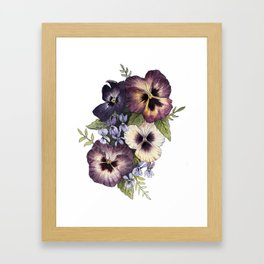Watercolor Pansy Bouquet Framed Art Print