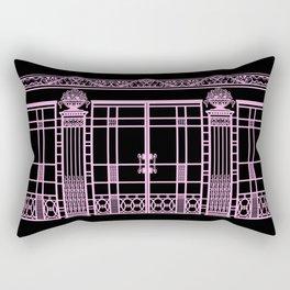 ART DECO, ART NOUVEAU IRONWORK: Pink on Black Rectangular Pillow