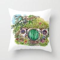 the hobbit Throw Pillows featuring Hobbit hole by Kris-Tea Books