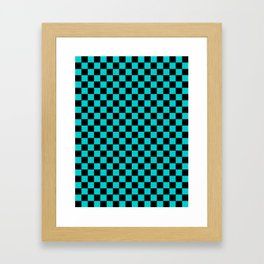 Black and Cyan Checkerboard Framed Art Print