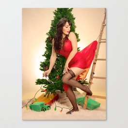 """Tree Trouble"" - The Playful Pinup - Christmas Tree Pin-up Girl by Maxwell H. Johnson Canvas Print"
