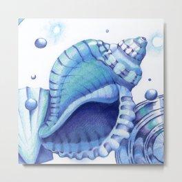 Blue Green Shells Metal Print