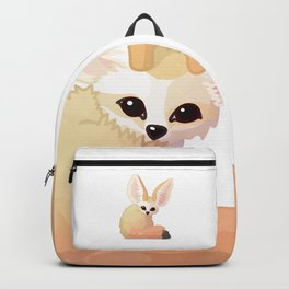 cute fennec foxes. Vector graphic character Backpack