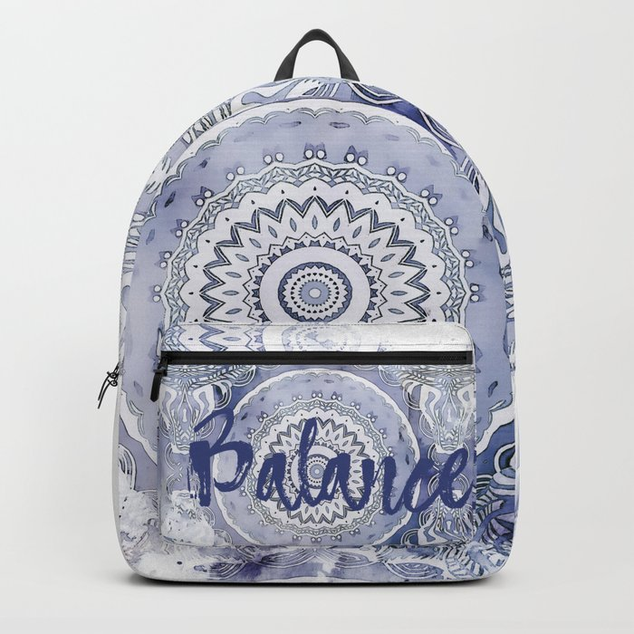 Blue Watercolor Mandala Painting with Word Balance Backpack