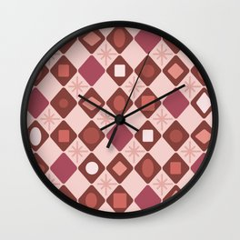 Mid Century Modern Rosewood Diamonds Wall Clock