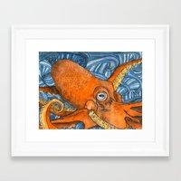 kraken Framed Art Prints featuring Kraken by Amy Nickerson