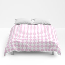 Small Diamonds - White and Classic Rose Pink Comforters