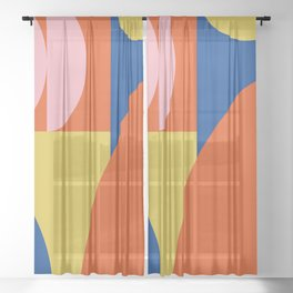 Bold Modern Bauhaus Shapes in Red, Pink, Blue, and Yellow Sheer Curtain