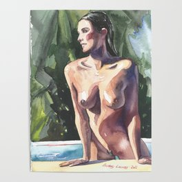 Original erotic watercolor painting NUDE GIRL POSING By the pool Poster