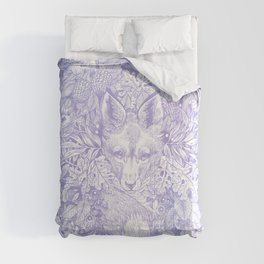 Pastel Purple Hiding Fox Drawing Comforters