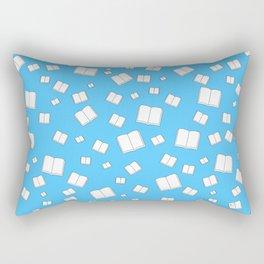 Blue Flying Books Pattern Rectangular Pillow
