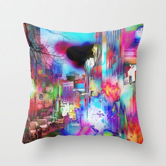 Boston Lights Remix Throw Pillow