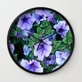 Purple Blue Petunias Wall Clock