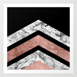 Modern rose gold black white geometric marble Art Print