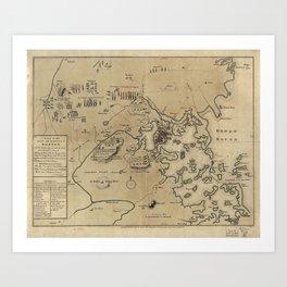 Vintage Boston Revolutionary War Map (1775) Art Print