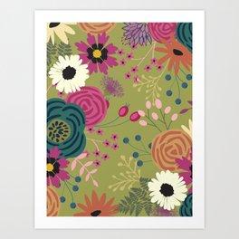 Verde Floral Art Print
