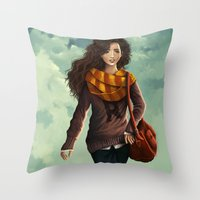 hermione Throw Pillows featuring Hermione Granger by agartaart