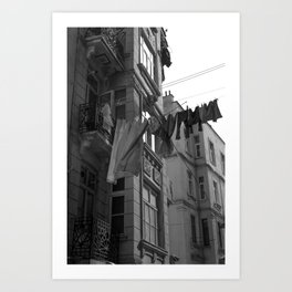 Basics of life, urban photography, print, black and white, old, city, town Art Print