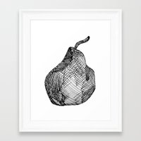 pear Framed Art Prints featuring Pear by Of Newts and Nerds