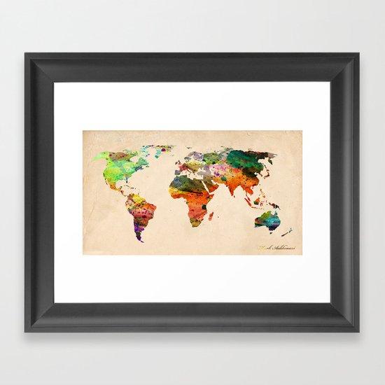 map world  Framed Art Print