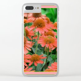 Coral Echinacea Garden Flowers Clear iPhone Case