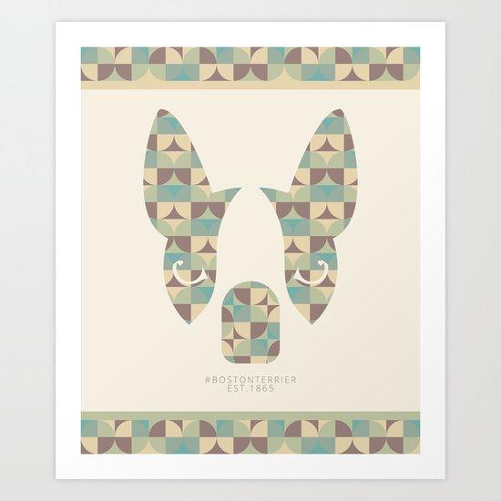 Boston Terrier: Circles. Art Print