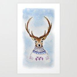 Deer in sweater Art Print