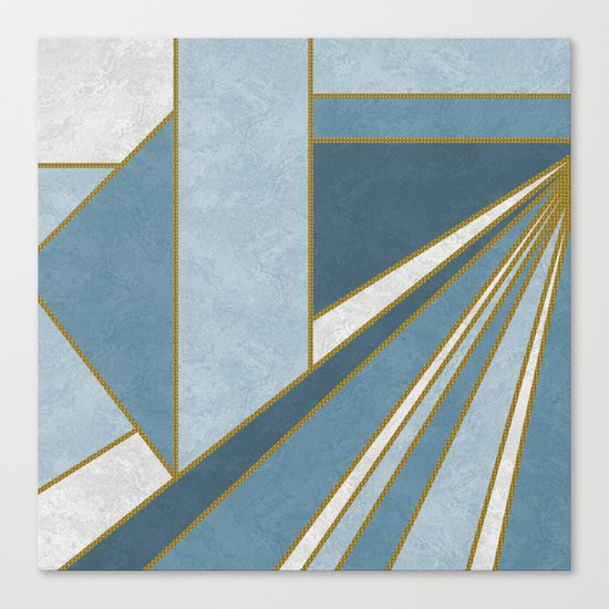 Travel to nowhere in blue (abstract geometric marble) Canvas Print