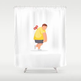 Tired fat man. Vector flat cartoon illustration Shower Curtain
