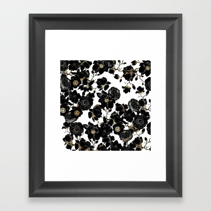 Modern Elegant Black White and Gold Floral Pattern Gerahmter Kunstdruck