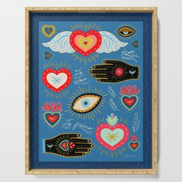 Milagro love hearts - blue Serving Tray