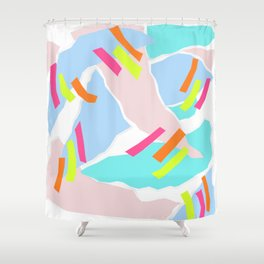 Pastel Paper with Neon Stripe Shower Curtain