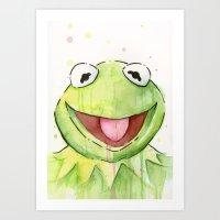 kermit Art Prints featuring Kermit Portrait by Olechka