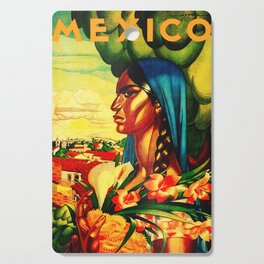 Vintage Mexico Travel - Woman with Flowers Cutting Board