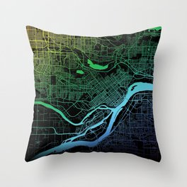 Burnaby, BC, Canada, City, Map, Rainbow, Map, Art, Print Throw Pillow