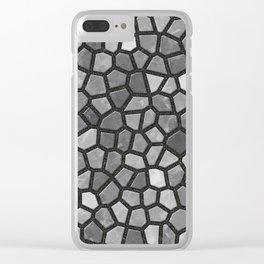 Faux Stone Mosaic in Darker Grays Clear iPhone Case