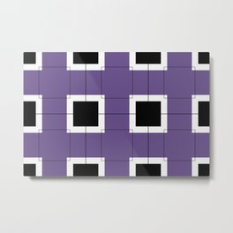 White Hairline Squares in Purple Metal Print
