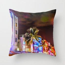 Ocean Drive South Beach Miami Florida Throw Pillow